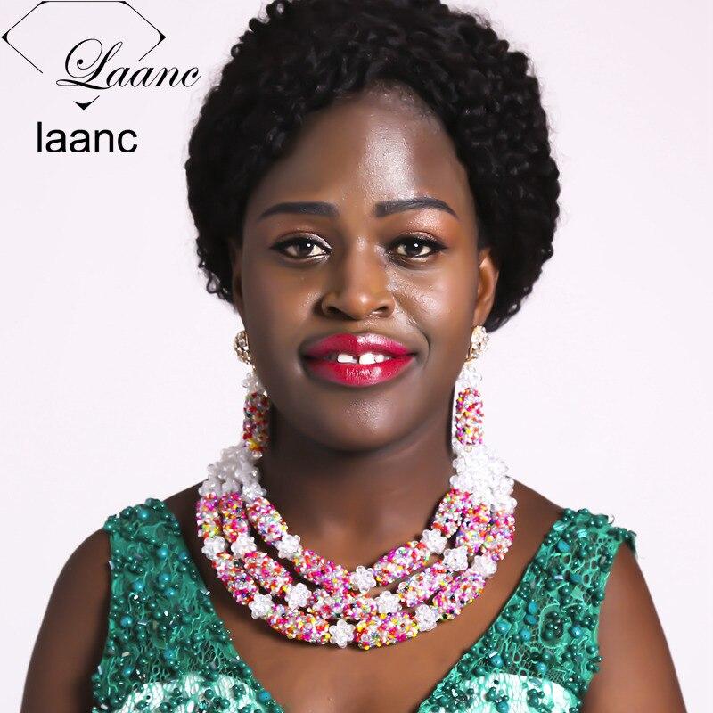 Brand Laanc New Arrived Nigerian Wedding Beads African Jewelry Set Crystal Dubai Inidan Bridal Necklace Sets AL324