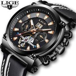 Męskie zegarki LIGE nowa luksusowa tarcza marka automatyczny mechaniczny tourbillon zegarek mężczyźni skórzany biznes zegarek Relogio Masculino