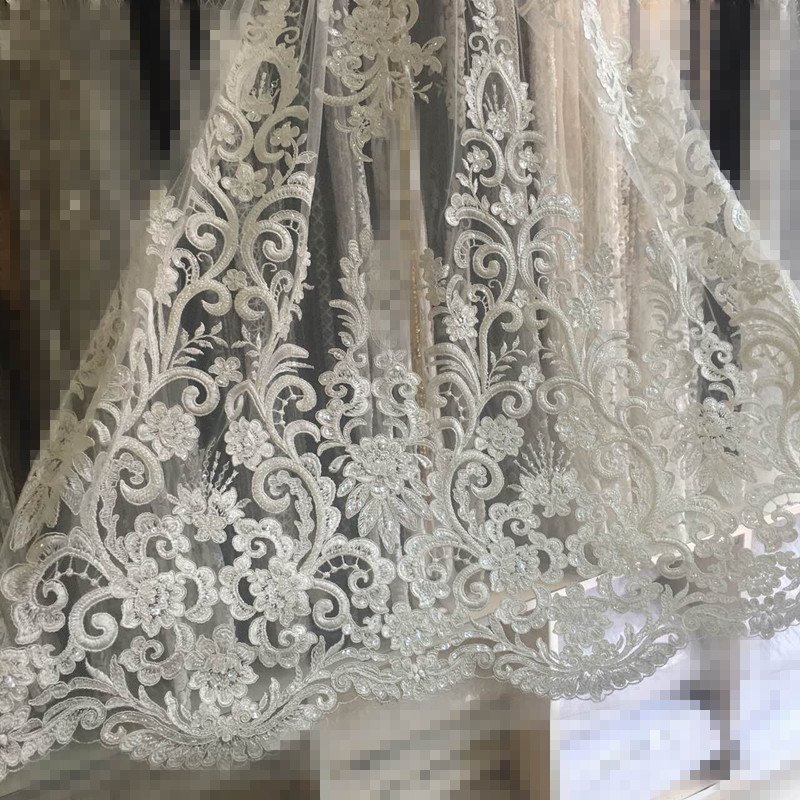 new arrival LJY 6606 embroidered lace with lots of beads for wedding dress top quality african