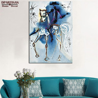 Salvador Dali LE CHEVAL DE TRIOMPHE Signed Dalinean Horse PRINT ON CANVAS