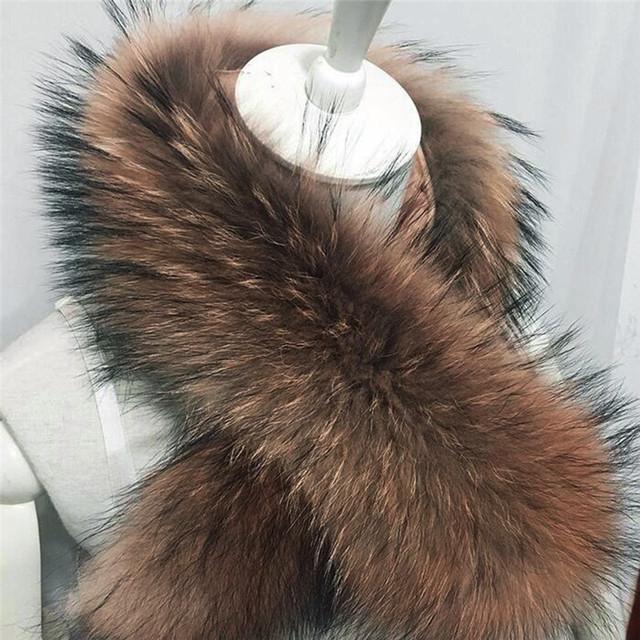 Imixlot moda 70 cm de cadena larga de cuello real cuello de piel cálido invierno suéter para las mujeres accesorios de alta calidad