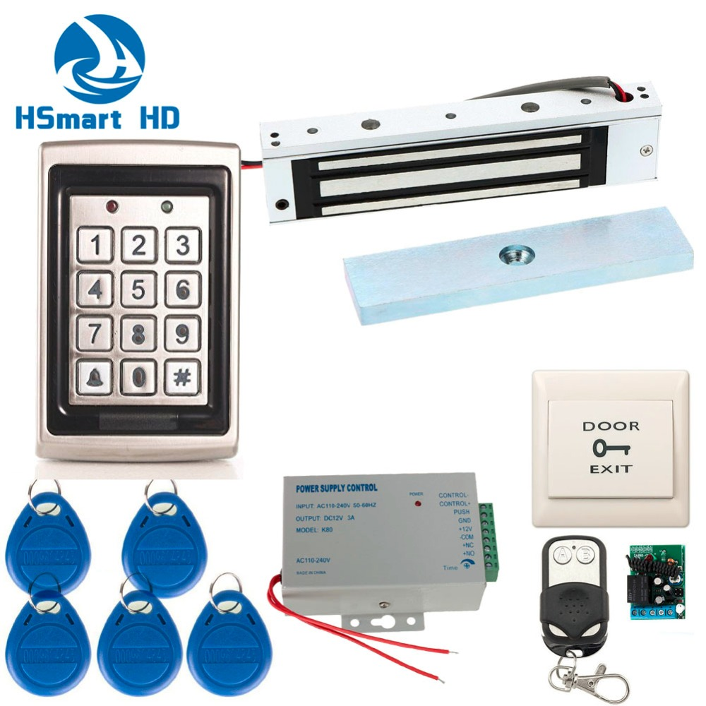 Full Complete Metal Shell Stand Alone EMID RFID Keypad Access Control Unit Kit & 180kg 300BL Door Magnetic Lock diysecur magnetic lock door lock 125khz rfid password keypad access control system security kit for home office