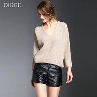 OIBEE2019 Повседневный корейский стиль длинный рукав v образный вырез однотонный вязаный свободный свитер