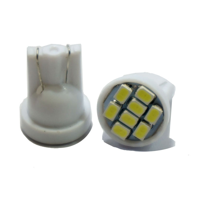 1000PCS  T10 LED Wedge Bulb 8 SMD 1210 LED W5W 2825 158 192 168 Car Parking Light Auto Dashboard Indicator Lamps DC 12V
