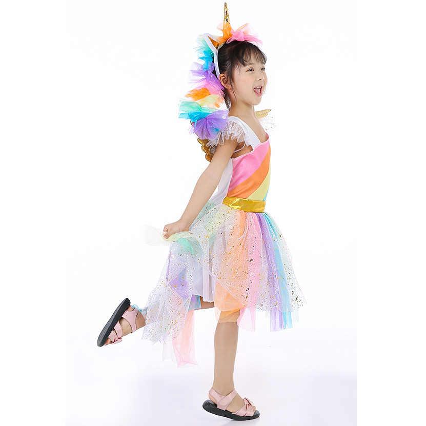 a3edd58a0ae ... Розничная продажа для девочек костюм Rainbow Unicorn платье дети  девушка Хэллоуин вечерние платье с головной убор ...