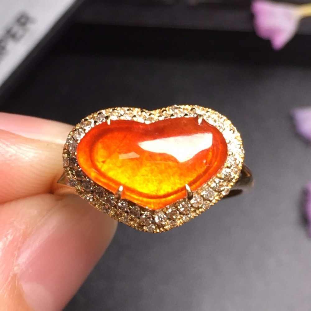 เครื่องประดับ 18 K จริงสีแดงธรรมชาติหยกพม่าแหล่งกำเนิดสินค้าหมั้นหญิงแหวนสำหรับผู้หญิงแหวน