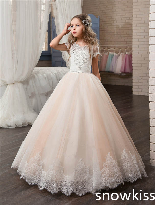 Blush pink pretty flower girl dress for wedding with beaded crystals crew neck junior pageant tulle dress with bow evening gowns