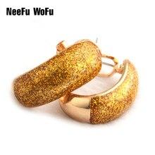 NeeFu WoFu Drop Big Earring Flash  Printed Metal for Woman Ear Ring Large Long Brinco Printing Accessories Oorbellen Earrings