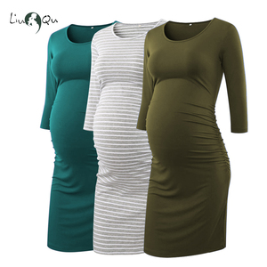 Image 1 - Pack of 3pcs Side Ruched Maternity Dresses 3 quarter Sleeve Bodycon Pregnancy Dress Wrap Maternity Dresses for Photo Shoot