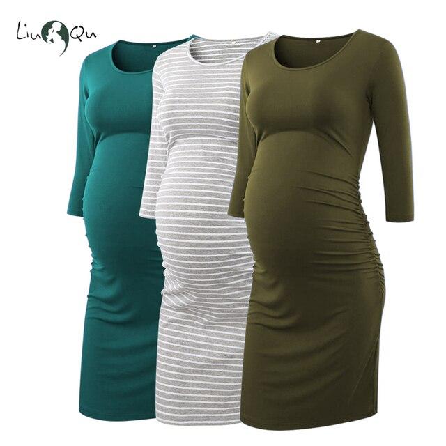 Paquet de 3 pièces côté froncé robes de maternité 3 quarts manches moulante robe de grossesse Wrap robes de maternité pour séance Photo