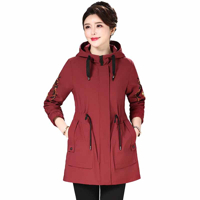 Fashion hooded   trench   coat women coat Spring autumn embroidery Large size Windbreaker middle aged female Casual   trench   Outerwear