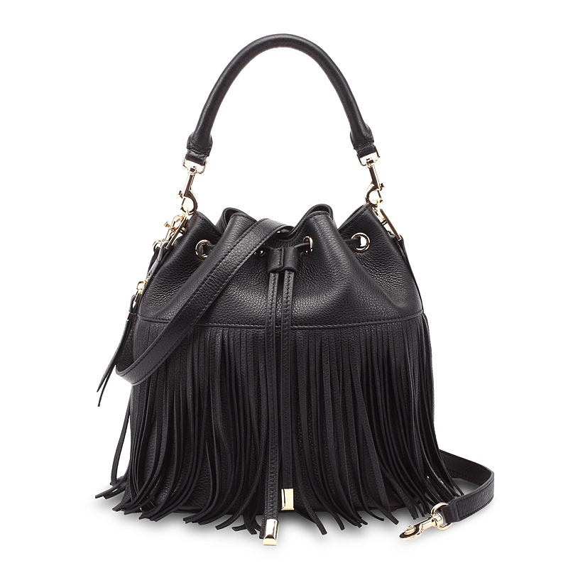 Genuine leather female tassel bucket bag messenger bag women's small vintage tassel shoulder bag first layer cow leather bag female new genuine leather handbags first layer of leather shoulder bag korean zipper small square bag mobile messenger bags