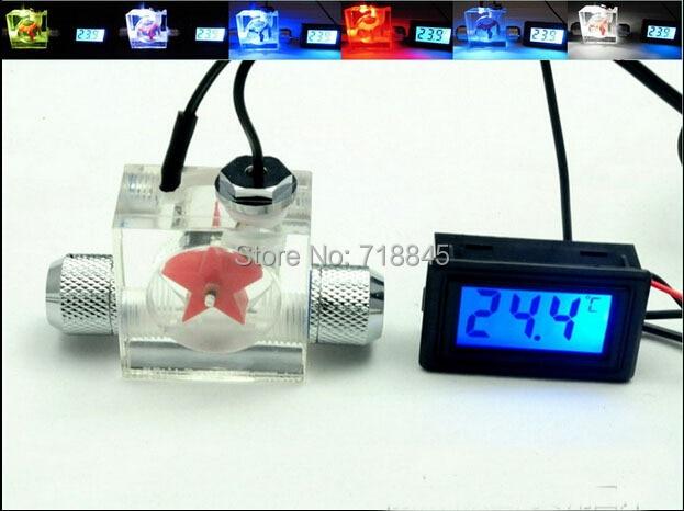 Medidor de vazão Escoteiro com luz LED E Termômetro Digital Para a Água Líquida Cooler CPU com montagem