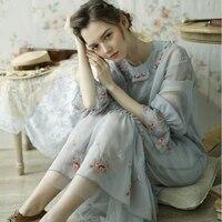 Линетт's Chinoiserie Демисезонный оригинальный Дизайн Для женщин Винтаж Вышивка свободные Мори Обувь для девочек Платья для женщин
