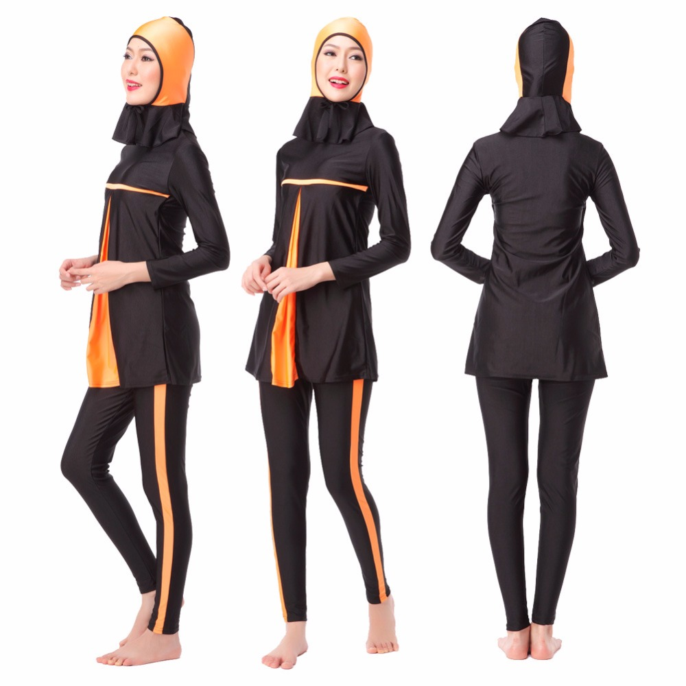 bc2cc141a2a68 Women long sleeve full coverage conservative swimsuit tops+pants+caps  female muslim swimwear bathing suit girls surfing suit