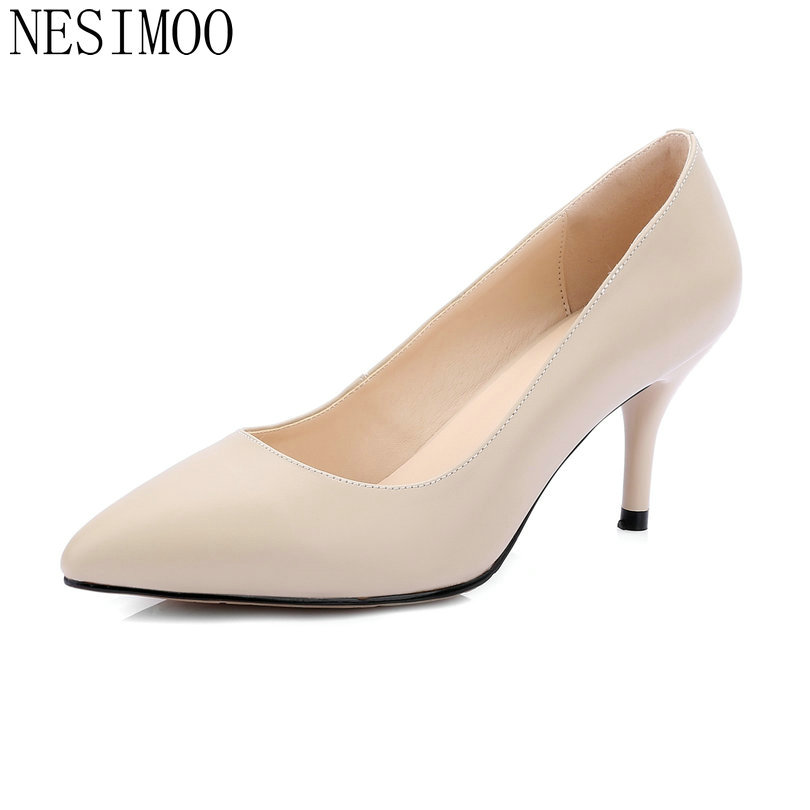 NESIMOO 2018 Women Pumps Pointed Toe Thin High Heel Cow Leather Concise Slip on Fashion Ladies Wedding Shoes Slip on Size 34-42 nayiduyun women genuine leather wedge high heel pumps platform creepers round toe slip on casual shoes boots wedge sneakers