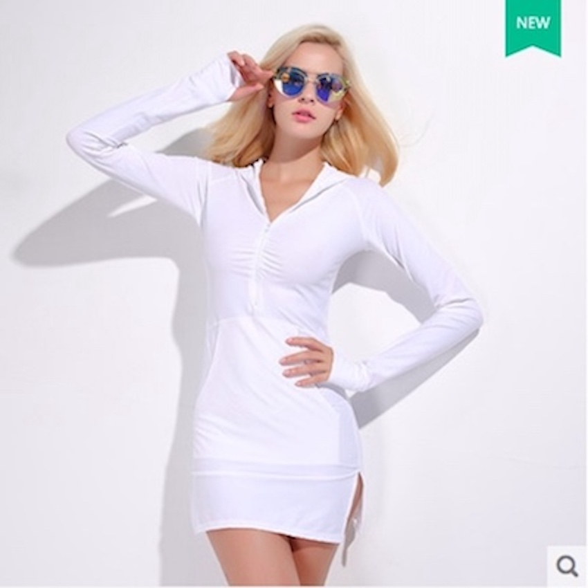Sbart Womens Summer Leisure Quick Dry Swimwear Breathable One-piece Concealed Skirt  Long Sleeves Sunscreen Swimsuit Hoodies sbart upf50 806 xuancai