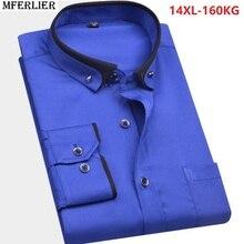 Camisa de boda de talla grande para hombre, camisa formal grande de manga larga, 8XL, 9XL, 10XL, 12XL, 14XL, azul, para invierno y otoño
