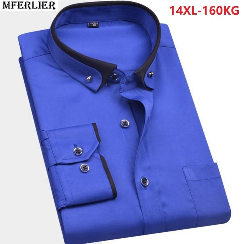MFERLIER high quality summer men big size wedding shirt large size plus formal shirt Long sleeve 8XL 9XL 10XL 12XL 14XL blue