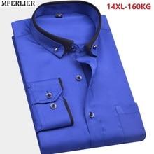 Zima wysokiej jakości jesień mężczyzna duży rozmiar koszula ślubna duży rozmiar plus formalna koszula z długim rękawem 8XL 9XL 10XL 12XL 14XL niebieski