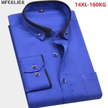 winter high quality autumn men big size wedding shirt large size plus formal shirt  Long sleeve 8XL 9XL 10XL 12XL 14XL blue