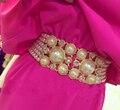 2016 mujeres calientes de la venta de lujo cadena de perlas Rhinestone cinturones moda salvaje waistbelts comodín accesorios de vestir para mujer metal cinturones anchos faja