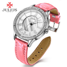 JULIUS New Female Fashion Temperament Leather Belt With Simulated Quartz Round Watch Waterproof Ladies Hour Girl Clock JA-695
