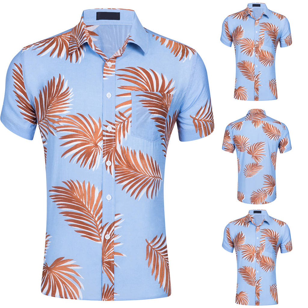 FLCH+YIGE Mens Aloha Print Beach Long Sleeve Fashion Slim Fit Button Down Shirts