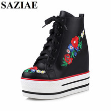 2017 New Arrived Black White Shoes Woman Height Increasing Flower Women Shoes Spring Platform Wedges Fashion Flats Free Shipping
