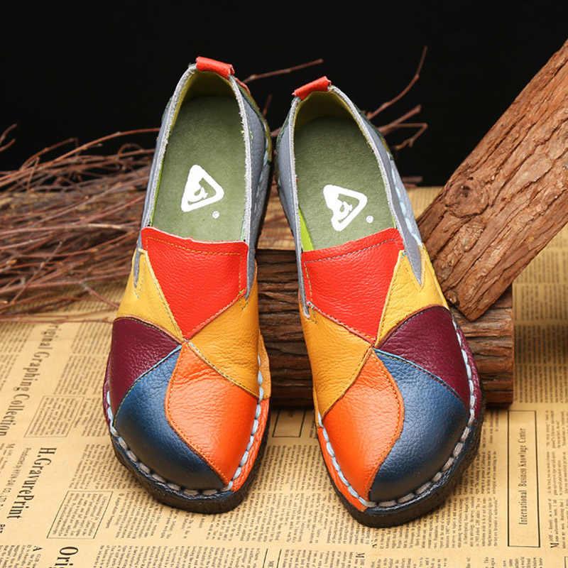 Platte Schoenen Vrouwen Mocassins Echt Leer Vrouwen Schoenen Designer Ballet Flats Gemengde Kleuren Slip Op Loafers Dames Platform Schoenen