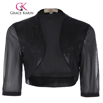 Grace karin chiffon bolero wedding accessories bridal wraps elegant wedding jackets shawl shrug black short sleeve.jpg 350x350
