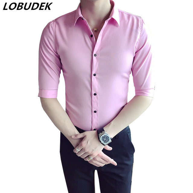 a20f0eaefa 2018 Summer Men s Casual Shirts Business Wears Pink Black White Gray Light  blue Short sleeve Fashion