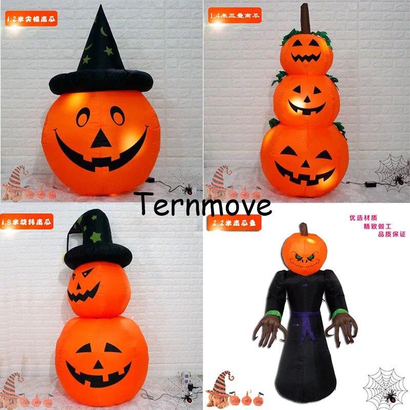 Citrouille gonflable géante de fantôme avec le chapeau pour l'événement extérieur LED allumant la citrouille gonflable avec le chapeau pour la décoration d'halloween
