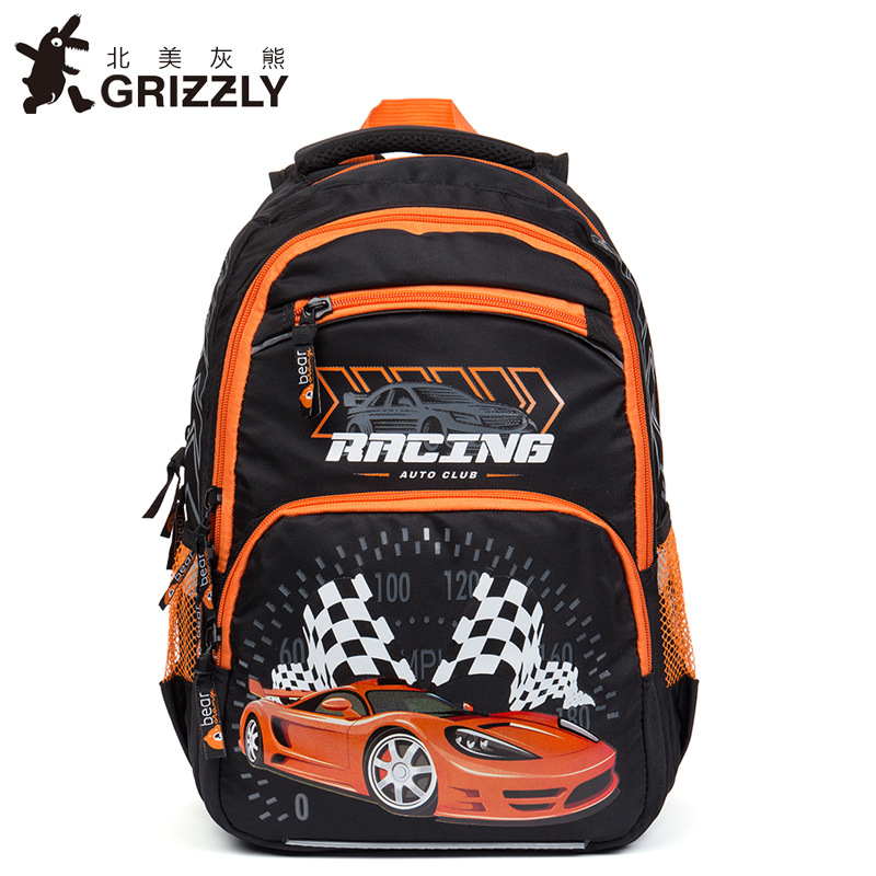 GRIZZLY Fashion Children Backpacks Kids Schoolbags for Boys Waterproof Orthopedic Zipper Primary School Bags for Grade