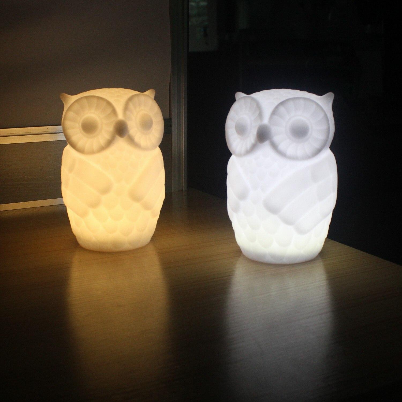 LED Night Light Baby Owl Shape White/Warm White Light PVC Table Lamp Indoor Decorative Nightlight Kid Room Party Decor T0.2