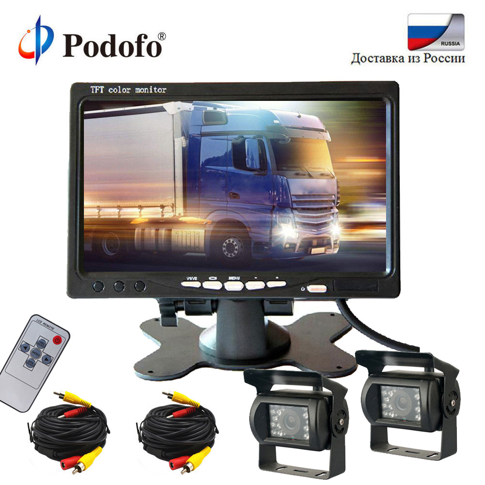 Podofo 7 LCD Car Rear View Monitor Parking Kit for Truck Bus RV Dual 18 IR LED Night Vision Rearview Reversing Backup Camera podofo wireless truck vehicle car rear view backup camera 7 hd monitor ir night vision parking assistance waterproof for rv rc