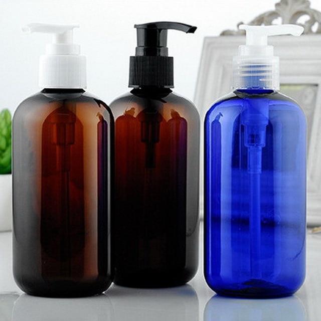240d6918b1c0 US $47.41 5% OFF|20pcs/lot 250ml Amber Blue Color PET Cosmetic Lotion  Refillable Bottles Round Shoulder Plastic Bottle With Screw Emulsion  Pump-in ...