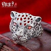 Beier 925 gümüş sterlini takı 2015 moda hayvan yüzük kırmızı eyes tiger başkanı Vintage Punk adam halka D0960