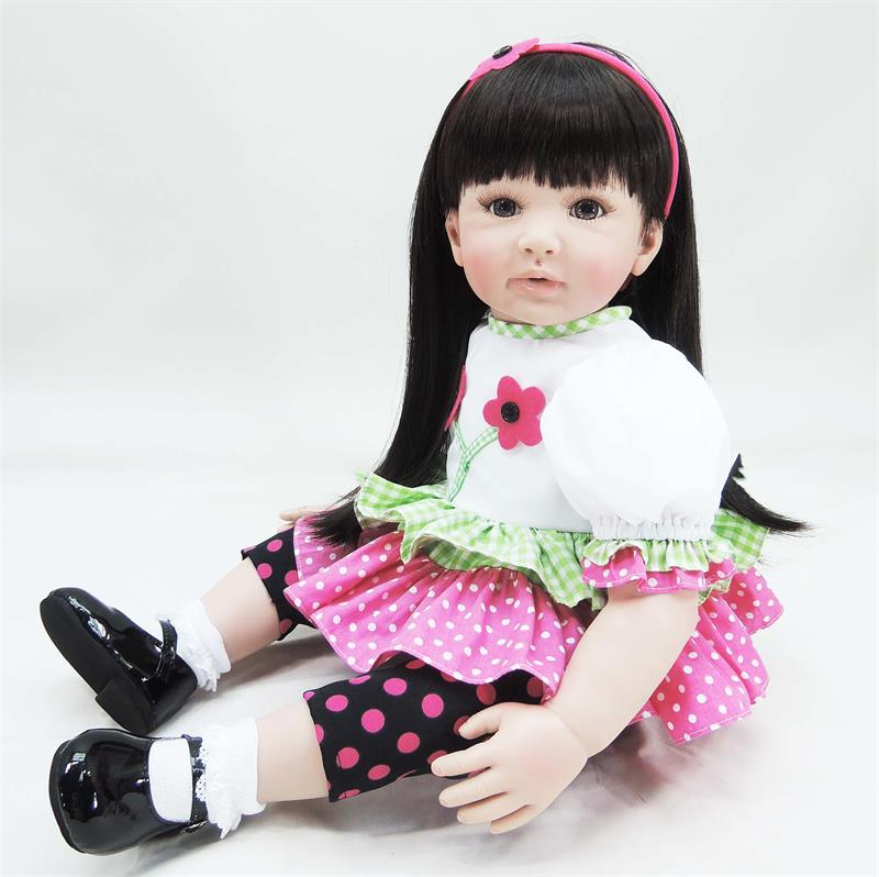 60cm Silicone reborn baby doll toy lifelike 24inch vinyl princess toddler girl babies doll play house bedtime toy birthday gift handmade 18 cute china girl doll reborn baby doll sd bjd doll best bedtime playhouse toy enducational toy for girls as gift