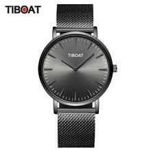 TIBOAT moda erkek saatler Top marka lüks Quartz saat erkekler rahat ince örgü çelik su geçirmez spor saatler Relogio Masculino