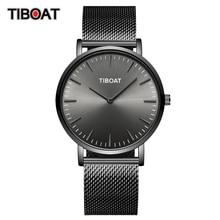 TIBOAT moda męskie zegarki Top marka luksusowy zegarek kwarcowy mężczyźni Casual Slim, z siatką stalowe wodoodporne zegarki sportowe Relogio Masculino