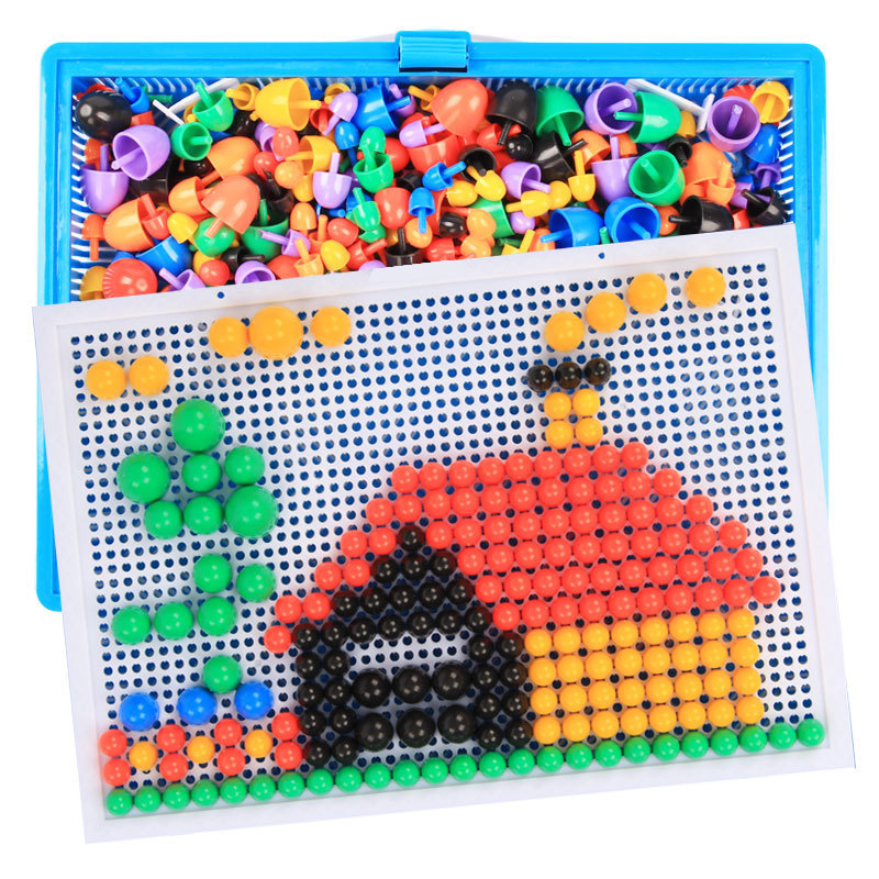 296/592pcs Children Puzzle Toys Composite Intellectual Toys Educational Mushroom Nail Kit Toys For Kids Gifts DIY Mosaic Puzzle