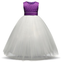 Formal Wedding Birhday Party Girls Dresses 2018 New Arrival Fashion Dresses For Girls Cute Pearls Bow Baby Girls Clothes 4T 12T