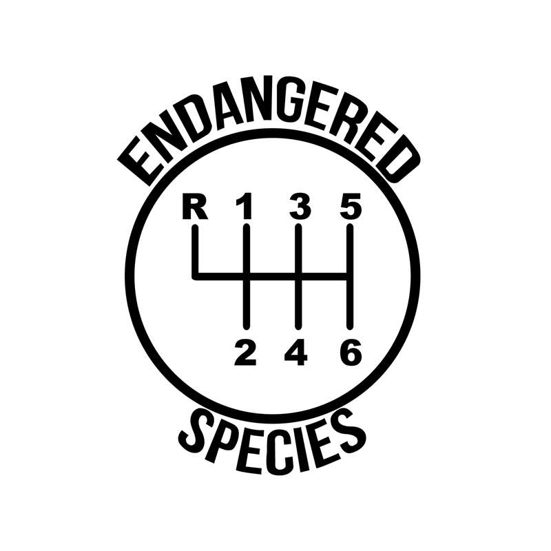 6 Speed Gear Endangered Species Funny Decals Car Decor