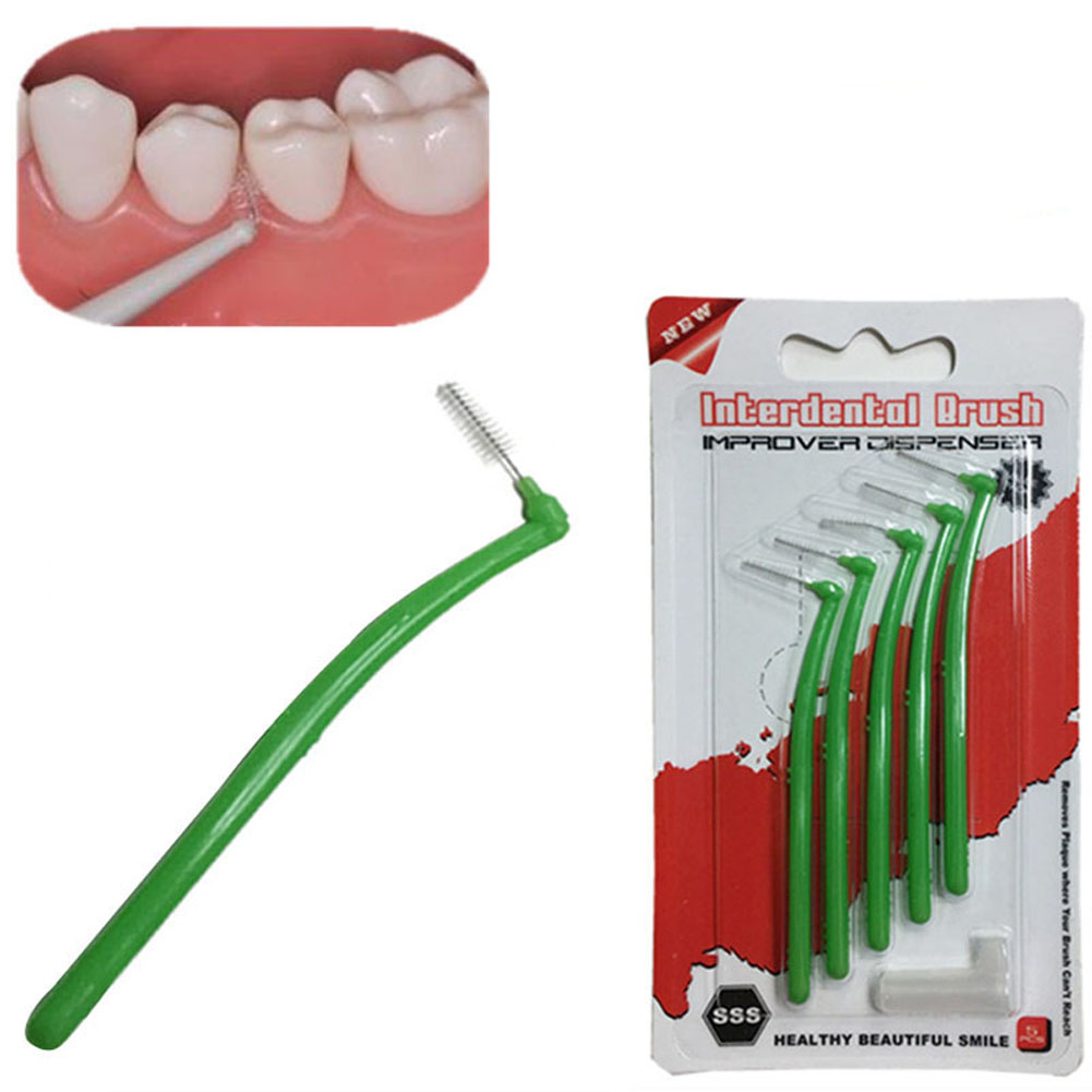 Teeth Whitening 5 Pcs/ Pack Interdental Brush L Forms Adults 0.22MM Oral Hygiene Dental Cleaner Care Brushes