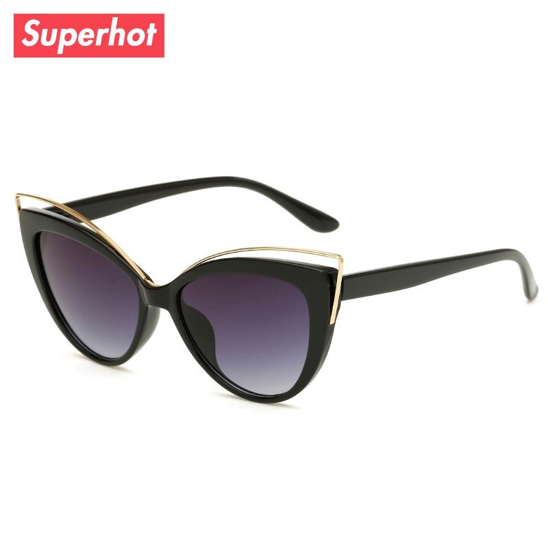 5bd6cd42e092 Superhot Eyewear - Fashion Cat eye Sunglasses Women Sun glasses Gradient  Shades Cute Black Sunnies Sunglass