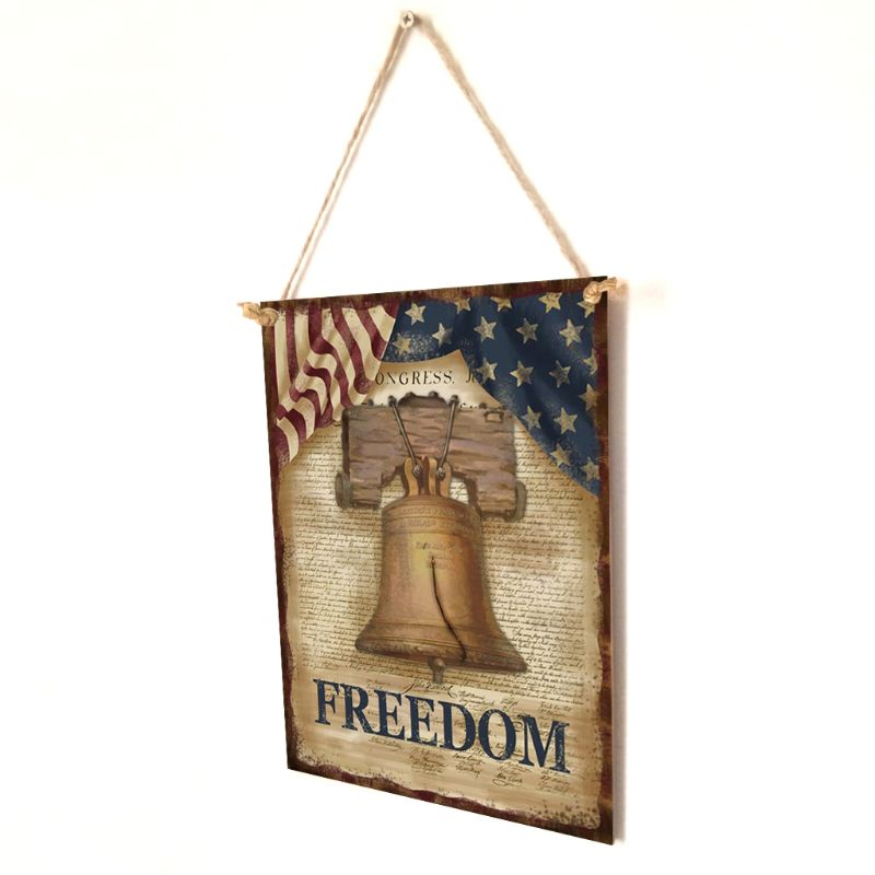 Image 3 - Vintage Wooden Hanging Plaque Freedom Sign Board Wall Door Home Decor Independence Day Party Gift-in Plaques & Signs from Home & Garden