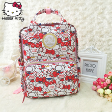 цена на Hello Kitty Cute Cartoon Bag hellokitty Fashion Women Single Shoulder PU Kawaii Cute Girls Schoolbag Shoulder Plush Backpack