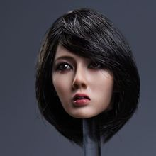 1/6 Asian Beautiful Women Head Short Black Hair Charming For 12 Bodies Toys Collections