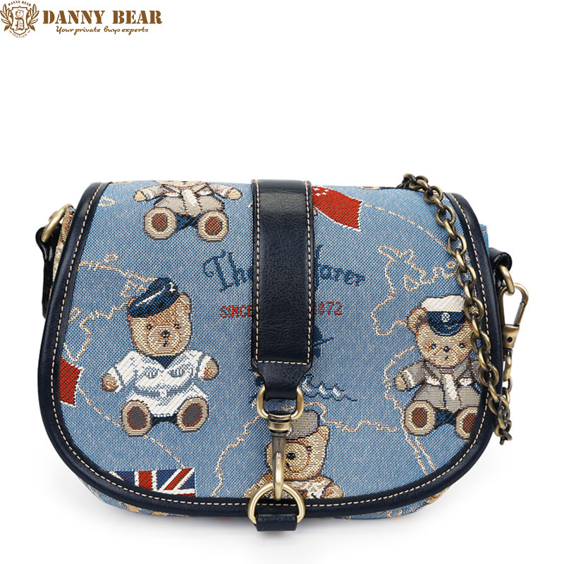 DANNY BEAR Women Cheap Vintage Small Crossbody Bag Female Fresh Blue Shoulder Messenger Bags Korean Causal Cross Body Bag Bolsa yesetn bag hot selling high quality unisex women men small vintage messenger bag brown female male cross body shoulder bags
